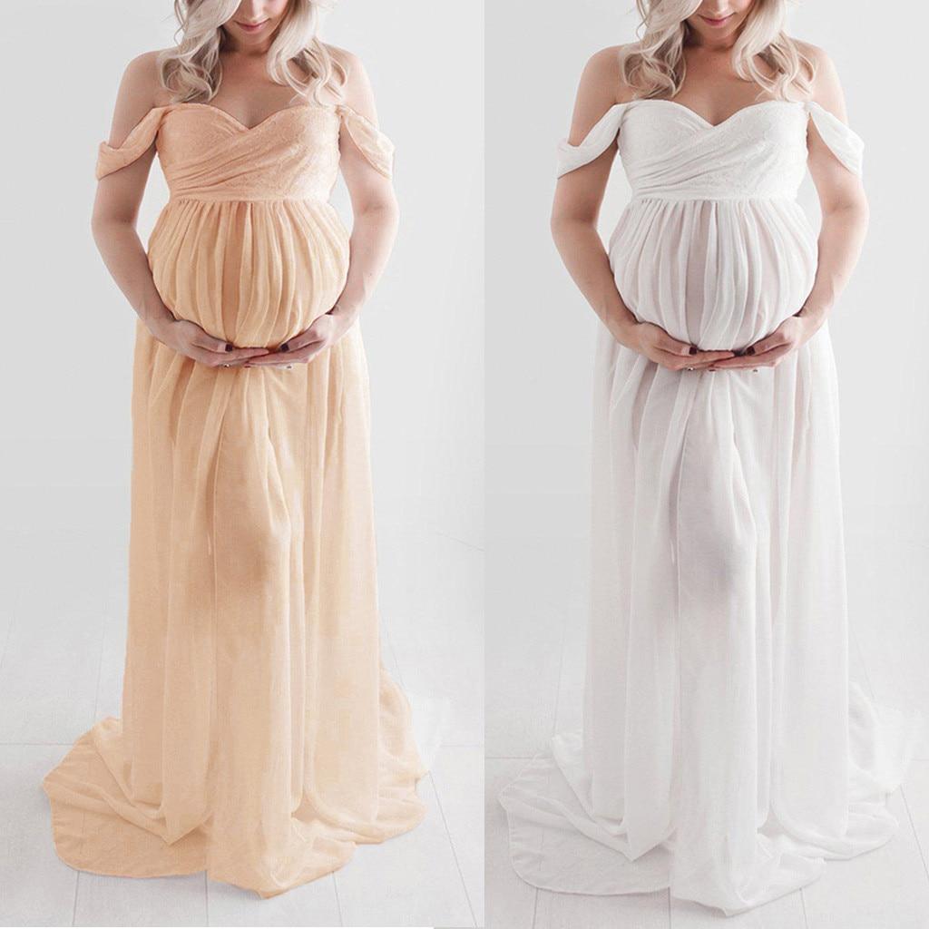Flounce Maternity Dresses For Photo Shoot Maternity Photography Props Dresses For Pregnant Women Clothes Pregnancy Dresses