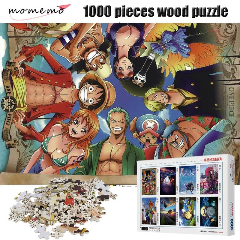 MOMEMO One Piece Partenaires de Bande Dessinée Anime Puzzles En Bois 1000 pièces Puzzle Enfants Jouets Éducatifs Cadeau Décoration de La Maison