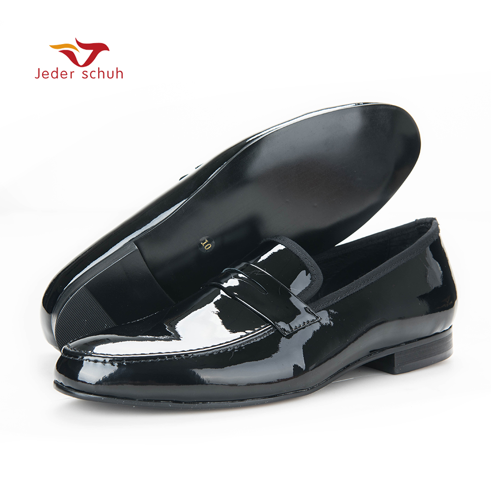 2017 casual shoes fashion Black Patent Leather Shoes Men Party and Wedding Loafers Men Flats Size US 6-14 Free shipping men loafers paint and rivet design simple eye catching is your good choice in party time wedding and party shoes men flats