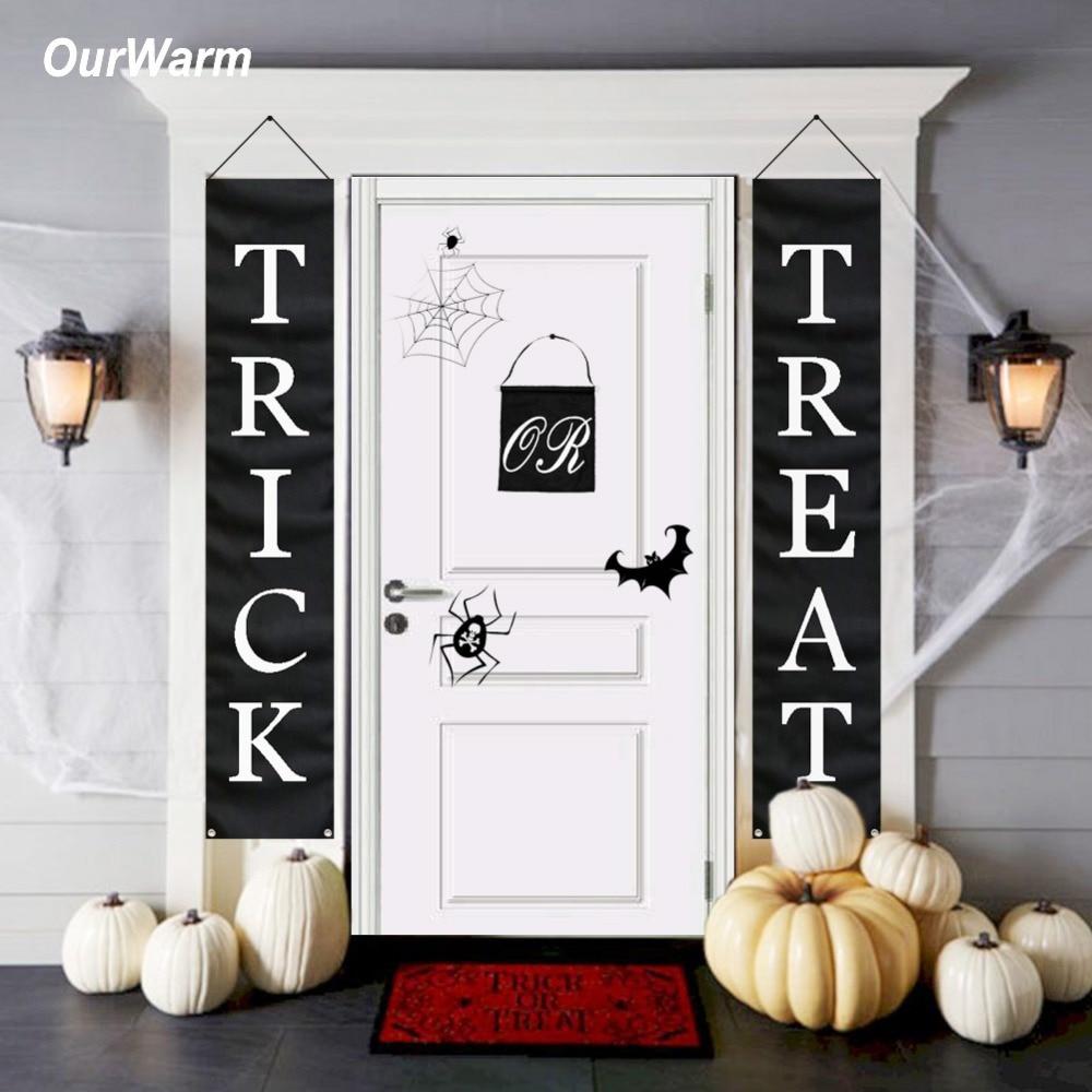 OurWarm decoración de Halloween truco o invitación Halloween Banner inicio puerta Oficina al aire libre listo para colgar fuentes festivas del partido