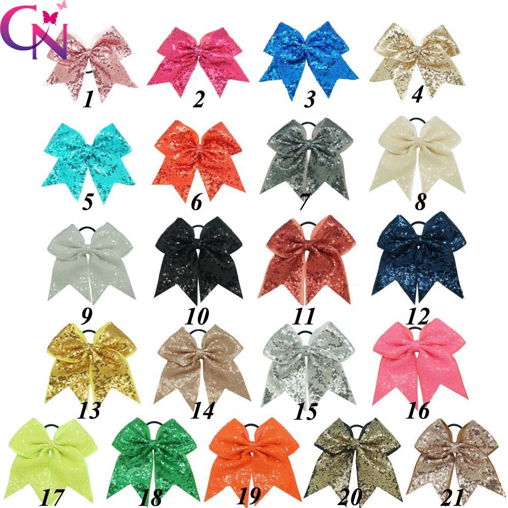 "21 stk / lot 8 ""Mote Håndlaget Sequin Bling Cheer Bows For Girls Barn Sequin Hair Bows Hårhår Tilbehør Med Elastisk"