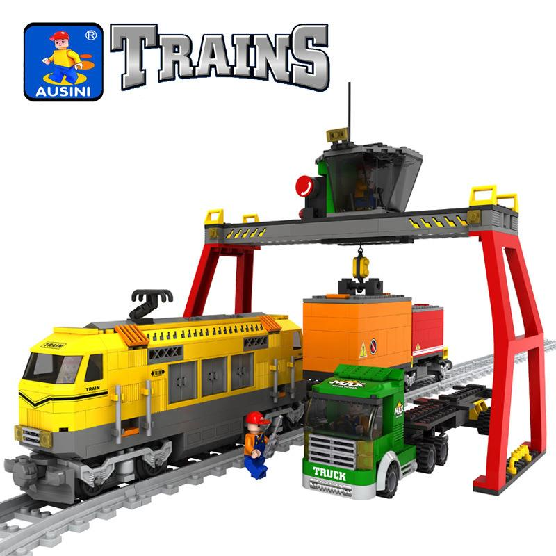 Model building kits compatible with lego city trains rails traffic 668 3D blocks Educational model building toys hobbies power trains набор с краном 48627