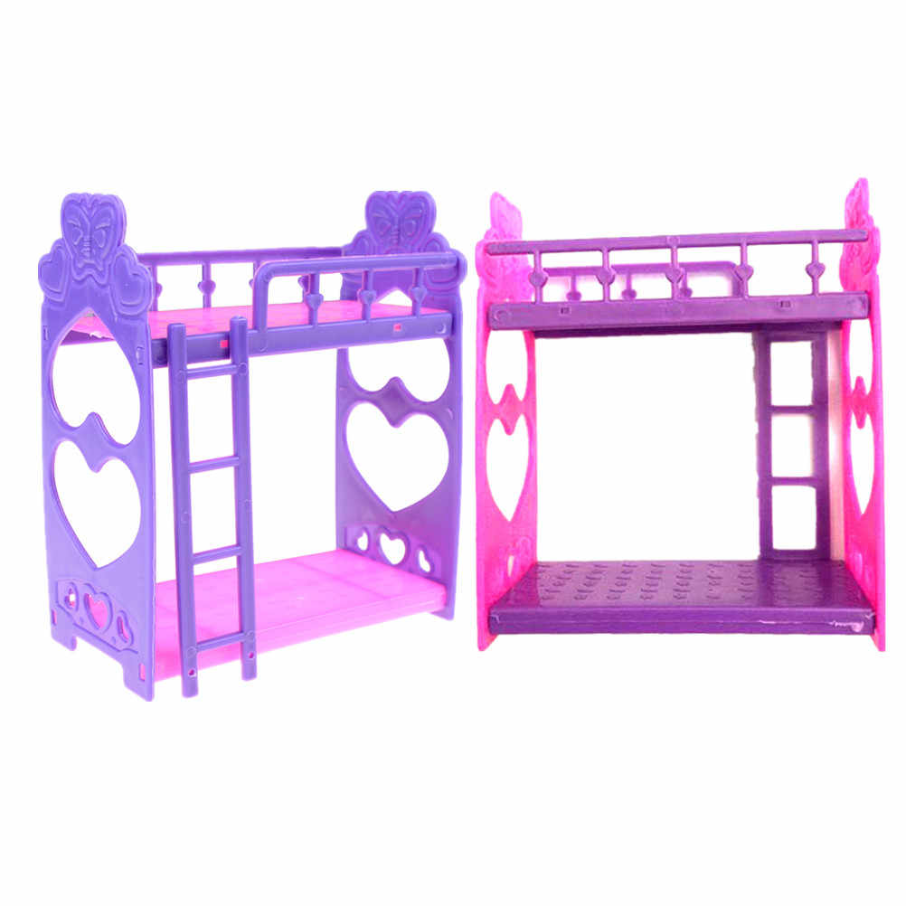 Pink Yellow Or Purple Girl Birthday Gift Plastic Double Bed Fashion Plastic Bed Bedroom Furniture For Girl Dolls Dollhouse