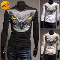 New 2018 Spring Autumn Slim England Style Crossfit Owls Printed Contrast t shirts fitness off white long sleeve O Neck T shirt
