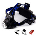 Zoom high Power Headlight 18650 Led Headlamp Rechargeable Waterproof XM-L T6 2000LM Head Lamp Light + 18650 Battery AC Charger