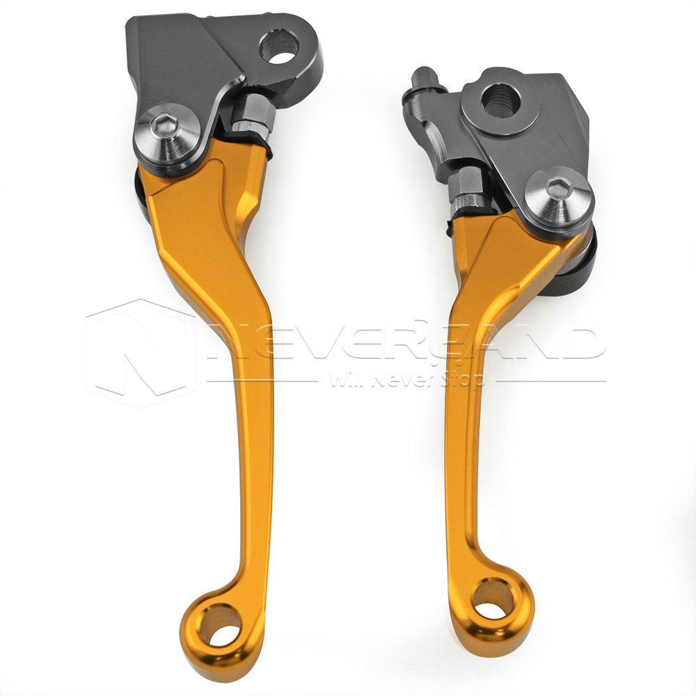 Gold CNC Pivot Brake Clutch Levers for Honda CRF250R CRF450R CRF 250R 450R 2007 2008 2009 2010 2011 2012 2013 2014 2015 2016 new cnc billet clutch cover outside for ktm 250 xcf w 2008 2009 2010 2011 2012 2013