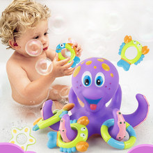 Bath Toys Bathtub Rubber Octopus Ring Toss Undersea World Shrimp Fish Crab Circle Bathroom Water Toys Hand-Eye Coordination Toy(China)