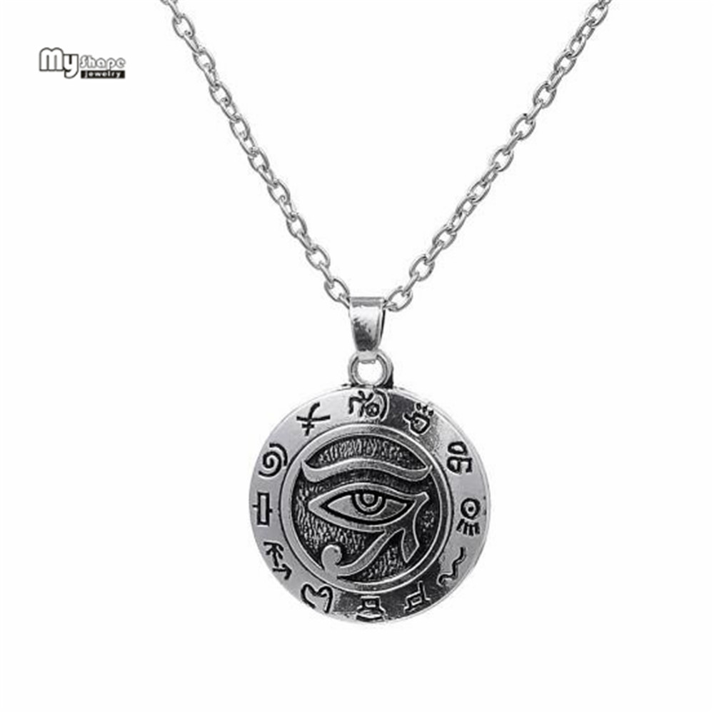 My Shape Egyptian Eye of Ra Horus Statement Necklace Vintage Silver Plated Charm Choker Religion Necklaces Pendants Men Jewelry
