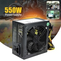 400W 550W Peak PC PSU Power Supply Black Gaming 120mm Fan Blue LED 20/24pin 12V ATX High Quality Computer Power Supply For BTC