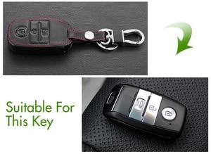 Image 4 - Funda de cuero genuino para llave, cubierta para llave para Kia KX3 KX5 K3S RIO 4 Ceed Cerato Optima K5 Sportage Soul Sorento, estilismo para coche