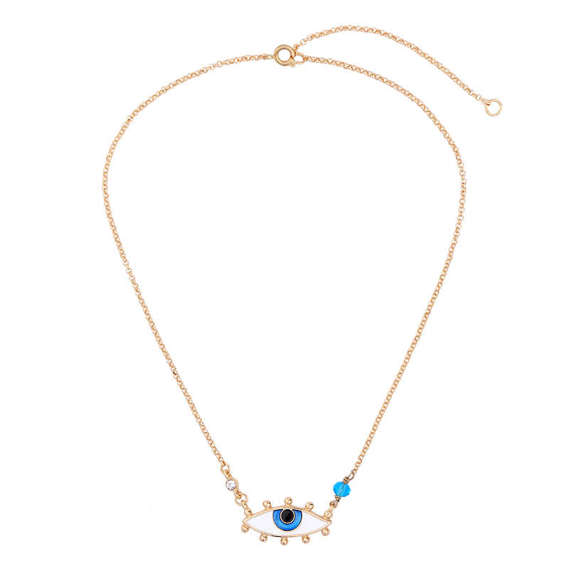 Simple Nifty Blue Enamel Eye Pendant Necklace Gold Color Chain Women Cute Collar Necklace Turkish Jewelry