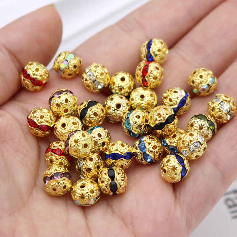 HOT! 8mm 50pcs Metal Ball Rhinestone Bead Spacer Bead For Jewelry Making Neckalce Bracelet DIY Jewelry Findings Accessaries