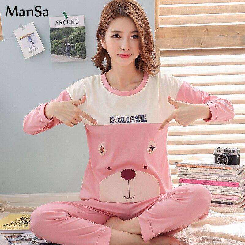 spring new pink sleepwear Women thin Cotton   Pajamas   Long Sleeve Top And Long Pant   Pajama     Sets   Big Size Cartoon Pyjama Femme Suit