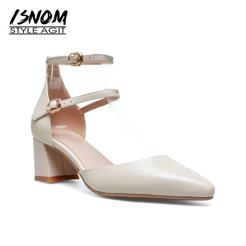 ISNOM 2018 Thick High Heeled Sandals Women Pointed Toe Genuine Leather Footwear Summer Fashion Office Female Ankle Strap Shoes isnom 2018 summer sandals for women heel