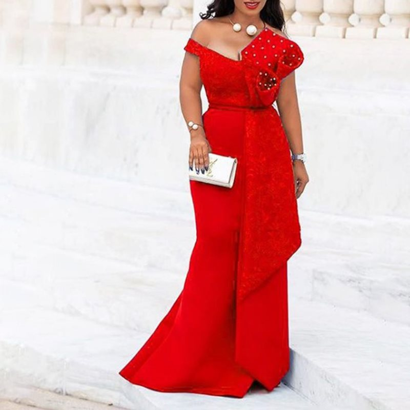 Bodycon Red Mermaid Lace African Party Dresses Women Evening Plus Sizes 3XL Elegant Long Sexy 2019 Backless Off Shoulder Dress