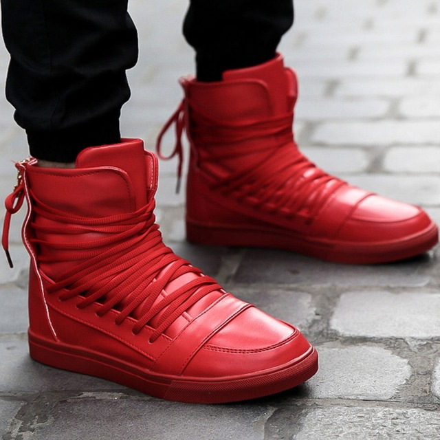 Cool Fashion Personality PU Leather High Top Shoes Mens Hip Hop Rocky Ankle  Boots Casual Shoes