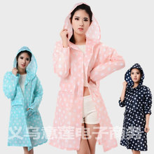 2015 The new raincoat women ultra-thin large polka dots winter fashion cute lady adult long pink poncho chubasquero