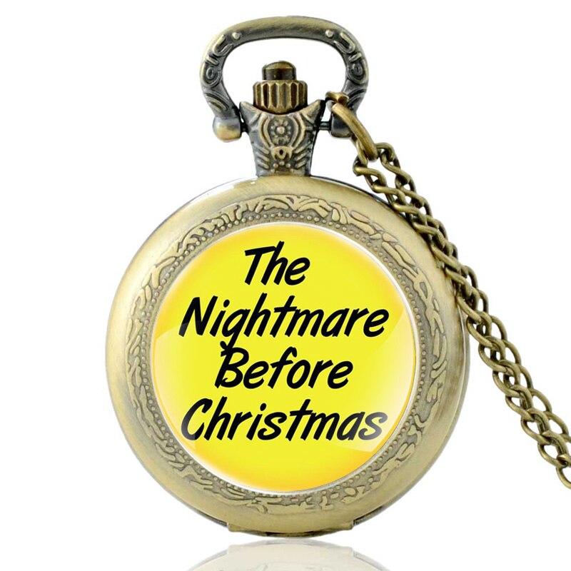 2018 New Fashion The Nightmare Before Christmas Quartz Pocket Watch Vintage Men Women Bronze Pendant Necklace Halloween Gifts
