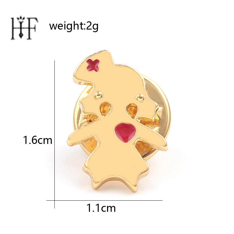 Cute Nurse Character Brooches & Pins Gold Color Heart Enamel lapel pin Women for Doctor Nurse Medical Jewelry Dress Accessories