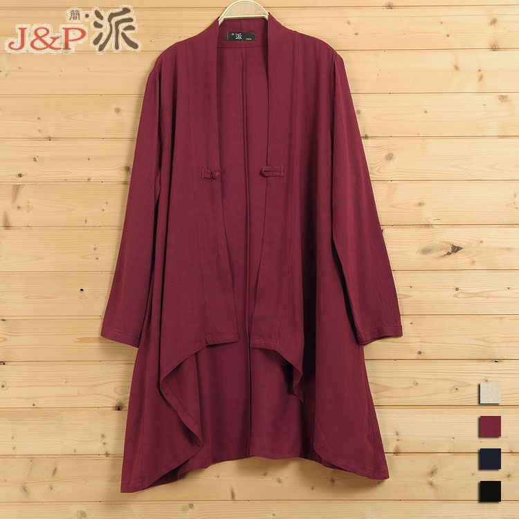2016 spring product launches, original design 90% cotton 10% linen loose big yards womens trench coat
