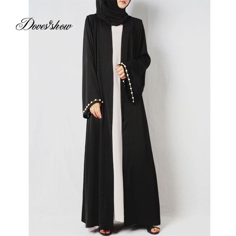 Beading Muslim Dress Abaya in Dubai Islamic Clothing Women Jilbab Djellaba Robe Musulmane Turkish Baju Robe Kimono Kaftan contrast panel kimono sleeve kaftan dress