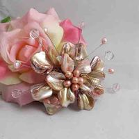 Unique Pearls jewellery Store,Handmade Natural Freshwate Pearl Real Shell Crystal Beads Brooch,White Shell Flower Brooches
