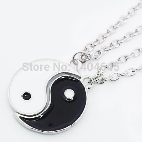 Silver yin yang pendant best friend gift pair necklace charms in silver yin yang pendant best friend gift pair necklace charms aloadofball Images