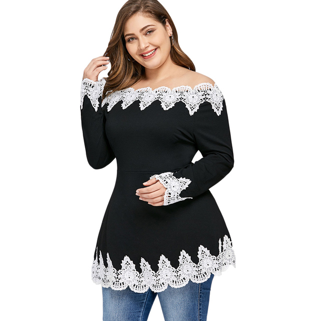 CharMma 2018 Lace Patchwork T-Shirt Plus Size Embroidey Off Shoulder Tops Spring Long Sleeves Female Black Casual Shirt Long Tee