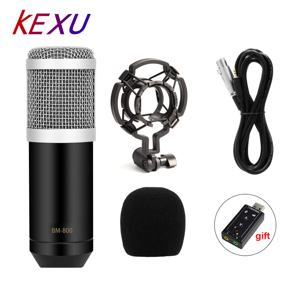 KEXU Professional LEIHAO BM-800 Bm800 Condenser Sound Recording Microphone With Shock Mount For Radio Braodcasting Singing Mic