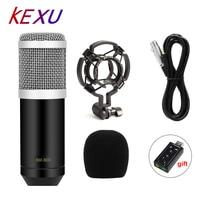 KEXU Profesyonel LEIHAO BM-800 bm800 Kondenser Ses kayıt mikrofonu Şok Dağı ile Radyo Braodcasting Şarkı için Mic
