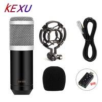 Kexu Профессиональный LEIHAO BM-800 bm800 конденсаторный звукозаписывающий микрофон с ударным креплением для радио braodcasing Поющий микрофон