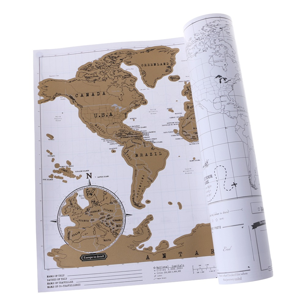 Deluxe Personalized Scratch Off Journal World Map And Travel Atlas Poster 3