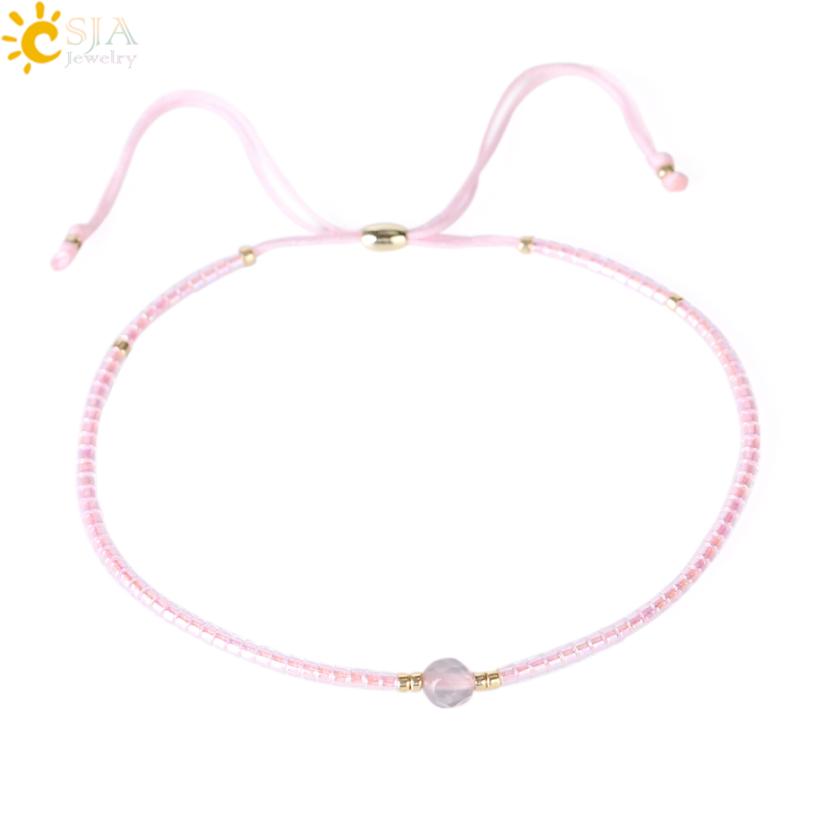 CSJA 2018 Pink Crystal Seed Beads Bracelet Cute Lace Up Rope Chain Bohemian Bracelets Diy Weave Accessories Drop Shipping S019