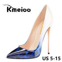 Kmeioo US Size 5-15 2018 New Sex Leopard Pumps Pointy Toe High Heels Woman Shoes Slip On Stilettos Party Office Ladies