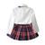 KidsTracksuit Humor Urso Outono Menina Roupa Do Bebê Conjuntos de Roupas Meninas de Manga Longa + Saia Grade + bowknot Casual 3 PCS ternos meninas
