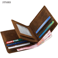 2017 Vintage Crazy Horse Handmade Leather Men Wallets Multi Functional Cowhide Coin Purse Genuine Leather Wallet