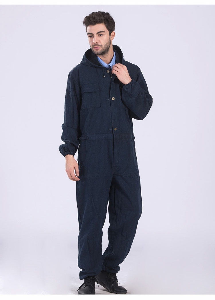 Men Work Clothing Long Sleeve Large Size Denim Overalls High Quality Hooded Dust-proof Welding Auto Repair Protective Coveralls (9)