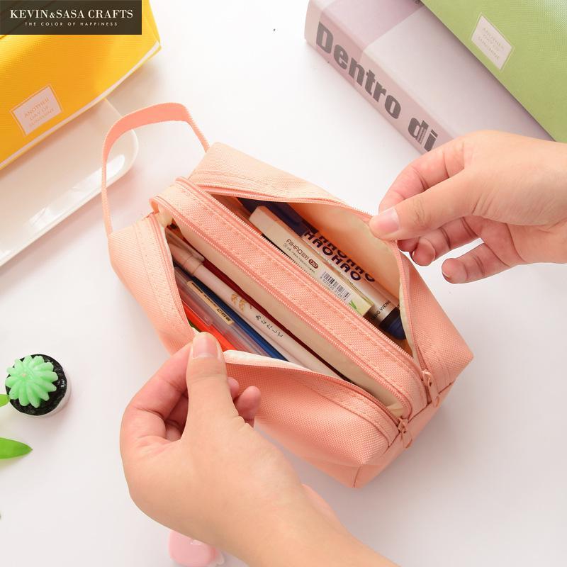 Solid Color Big Pencil Case Fabric Quality Cute School Supplies Stationery Gift School Cute Pencil Box Pencilcase Pencil Bag