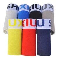 DEWVKV 7pcs/lot Mens Boxers Sexy Underwear Colorful Cotton Man Short Solid Flexible Shorts Boxer Pure Color Male Pants Sets