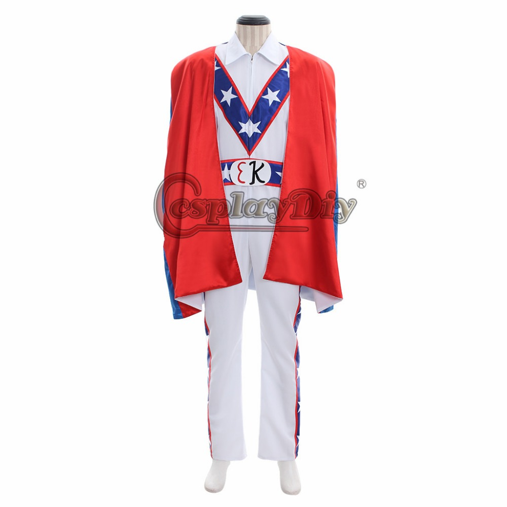 Motorcycle Evel Knievel Daredevil Patriotic Cosplay Costume Outfit Uniform Cape