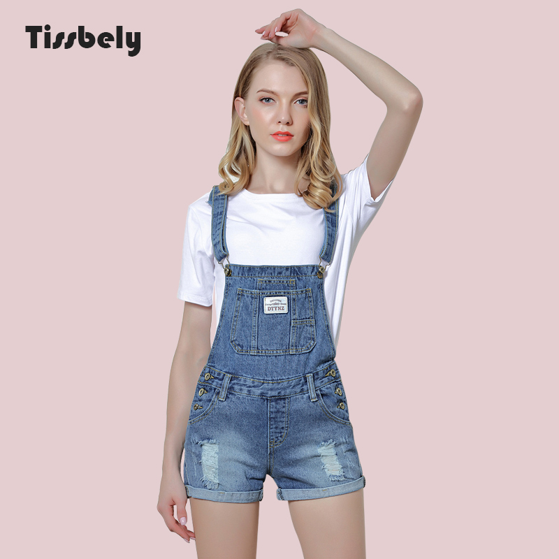 Tissbely Overalls Shorts Ripped   Jeans   for Women Safari Style Front Big Package Ripped Gradual Change Overalls Pants