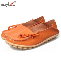 2016 New Genuine Leather Women Flats Moccasins Loafers Wild Driving Women Casual Shoes Leisure Concise Flat