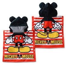 Disney 100% хлопок нижнее белье для девочек с рисунком Минни Микки с капюшоном Детская парка с подкладом, с полотенце-накидка впитывающий Халат детское банное полотенце-накидка 120×60