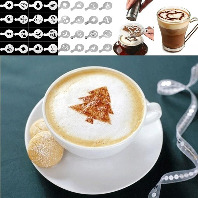 16pcs Chocolate Shaker Duster Cappuccino Latte Coffee Stencils Spoon Latte Art Coffee Decorating Molds