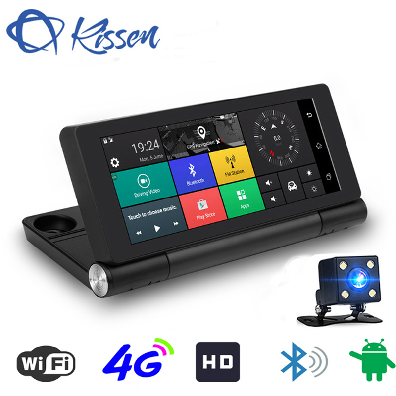 Kissen 7 4g Wifi ADAS Voiture DVR Dash Caméra Android 5.1 Full HD 1080 p GPS Navigation Vidéo enregistreur Bluetooth Double Objectif Dash Cam