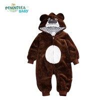 Newborn Baby Bear Zwierząt Romper Kostium Baby Boy Ubrania Kapturem Kombinezon Zimowy Flanela Cartoon Dziewczynka Odzieży