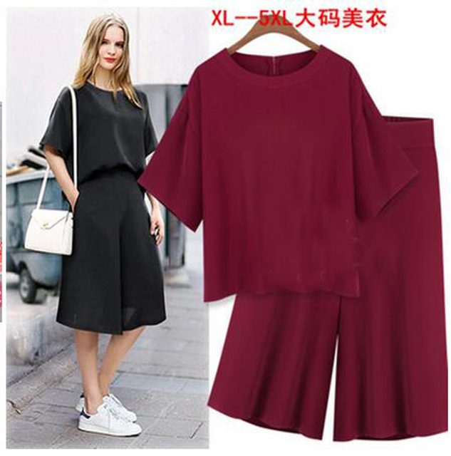 2 Piece Sets 2016summer style Casual O-neck bat sleeve Shirts Fifth sleeve wide leg pants suit Elastic Waist Suits