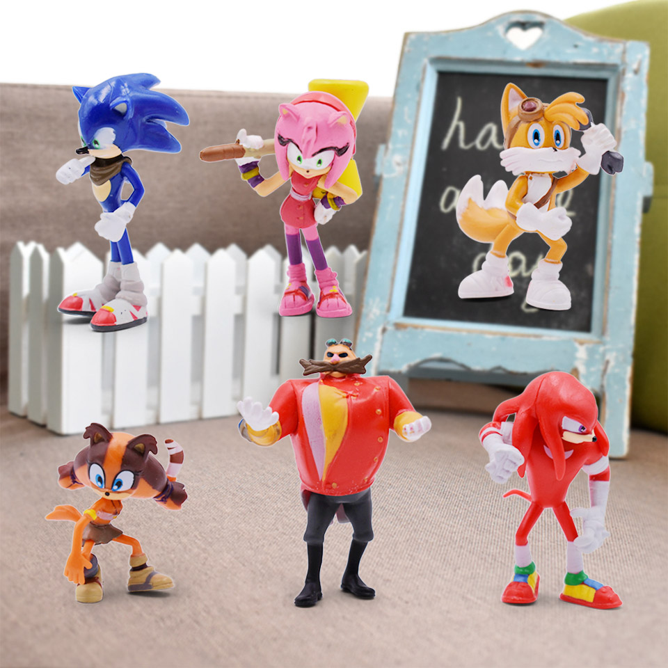 6Pcs/Set 4-7cm Sonic Boom Rare Dr Eggman Shadow PVC Toys Action Figures Doll Sonic Shadow Tails Characters Figure Toys For Boys soccer balls size 4