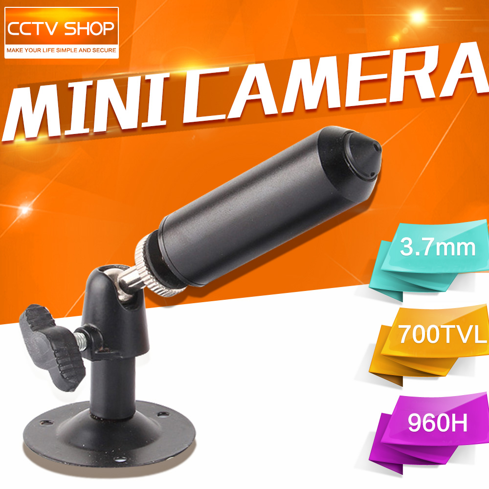"imágenes para 1/3 ""Sony effio-e CCD 700TVL 3.7mm Pinhole Lente Mini Con Conexión de Cable cctv Cámara de la Bala Con Soporte de Color Negro Para 960 h DVR"