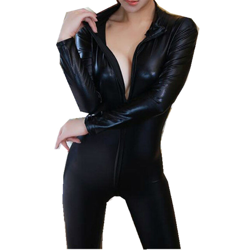 100% Quality Women Catsuit Sexy Lady Wetlook Shiny Pu Leather Bodysuit Tights Jumpsuit Motorcycle Suit Cosplay Special Use Clubwear Nourishing The Kidneys Relieving Rheumatism Women's Clothing